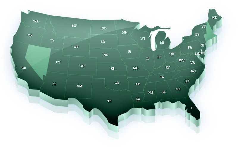 All states except Alaska, Hawaii, Nevada, Massachusetts, New Hampshire, Rhode Island, and Connecticut